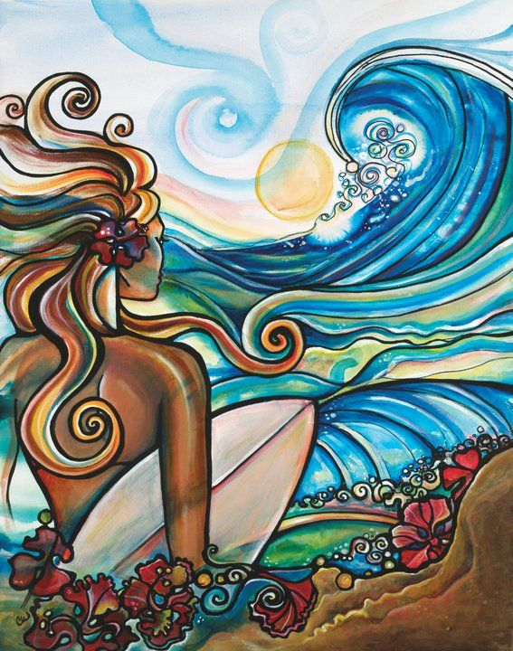 Inspired by the beautiful surroundings where she lives, Colleen Wilcox is the creator of these amazing acrylic on canvas paintings. She also creates designs for surfboards and accessories, all in the same colorful, cheerful style.