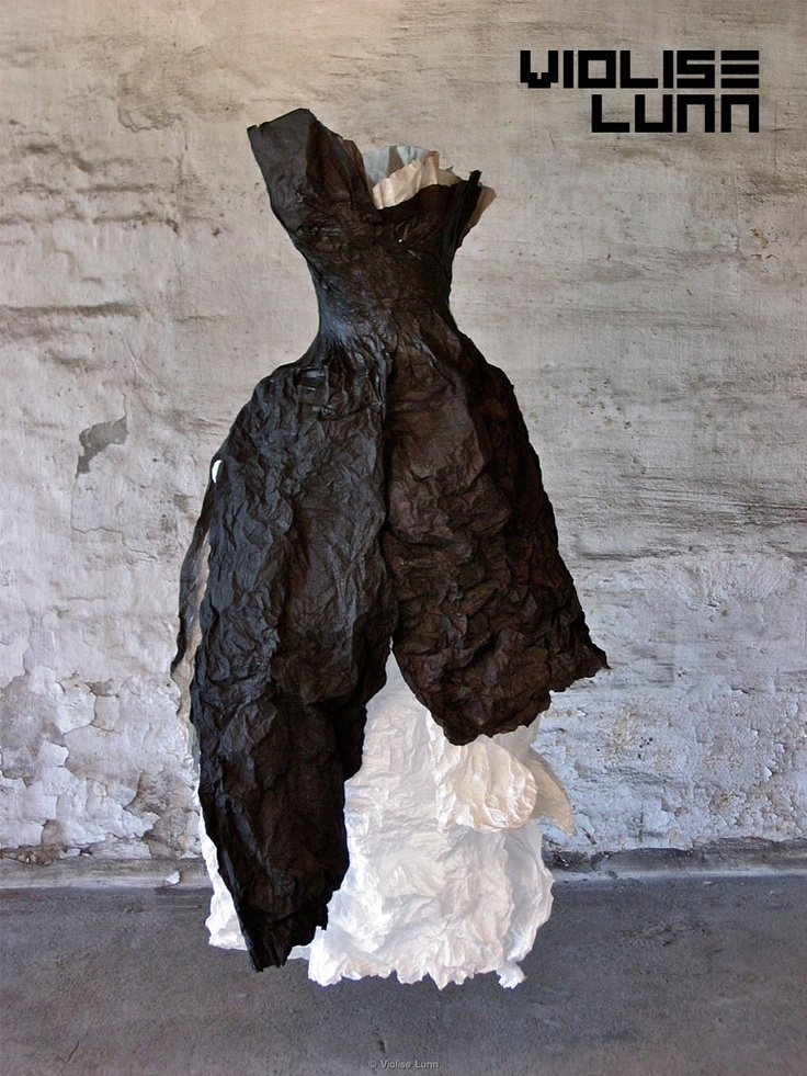 Paper Dress Sculpture with crumpled textures; fashion art; paper couture // Violise Lunn