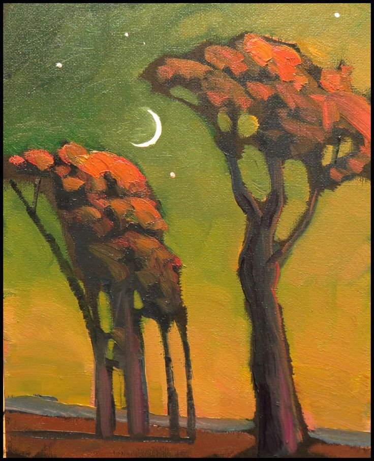 Collectable W HAWKINS Impressionist Green Moon Trees American Art Painting Decor #Impressionism