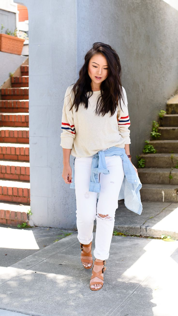 Perfectly layered & casual in our destructed boyfriend jeans. Blogger The Fancy Pants Report wears her Gap denim for a day around L.A. Shop this look now. #Fall2015 #GAP #Denim #DistressedDenim