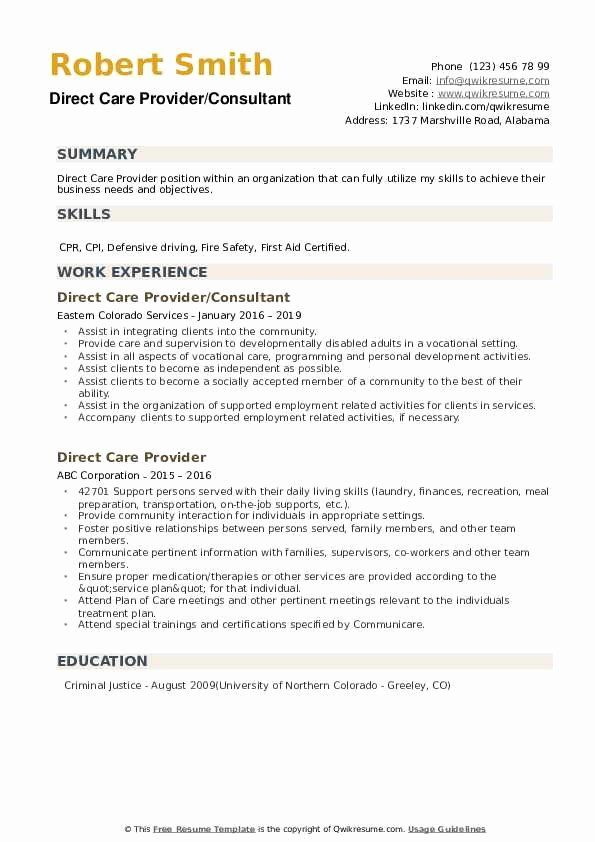 Direct Care Worker Resume Beautiful Direct Care Provider Resume Samples In 2020 Resume Examples Manager Resume Good Resume Examples