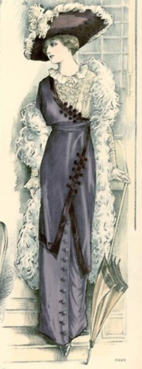 Asymmetrical Edwardian dress from De Gracieuse magazine, 1912