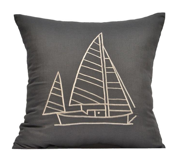 Grey Linen Throw Pillow : Gray Throw Pillow Cover,Gray Linen with Cream Sailing Ship, Nautical Pillow, Accent Pillow ...