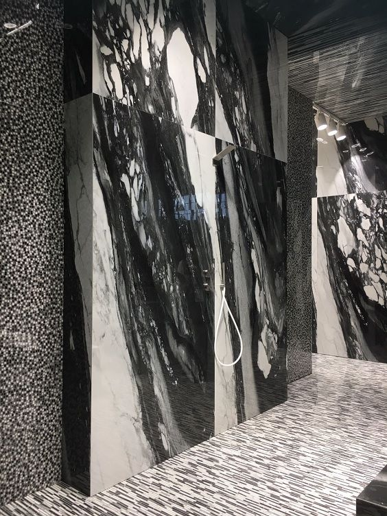 Dramatic Black & White Marble-Effect Porcelain Tiles. As seen at Cersaie 2017.