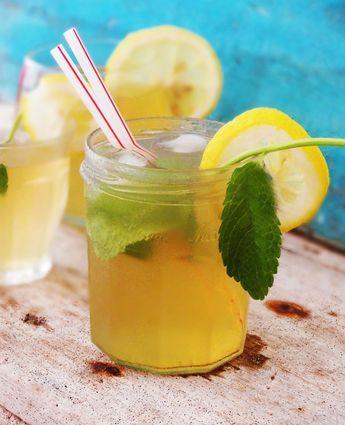 ijsthee met munt en citroen