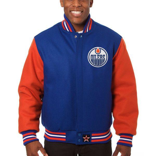 Men's Edmonton Oilers JH Design Royal/Orange Two-Tone All Wool Jacket