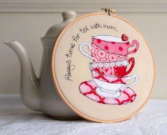 Embroidery hoop Time for tea with mum teacups by rachelandgeorge, £25.00