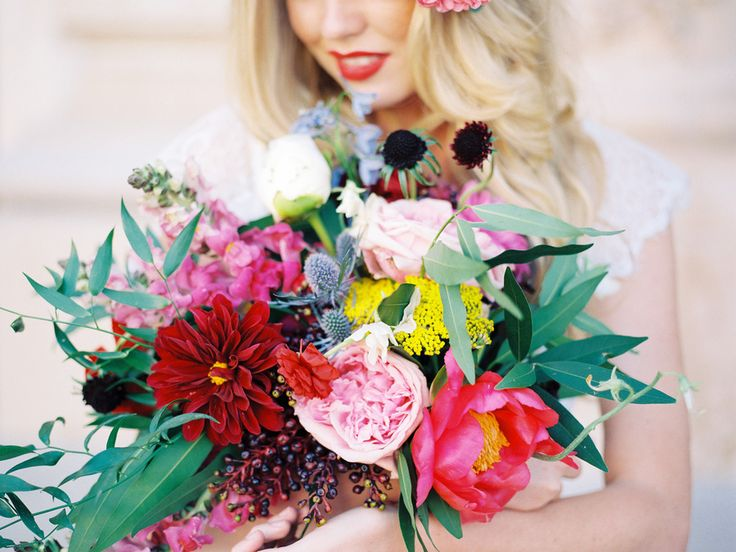a wedding #bouquet in every color of the rainbow |  Photography: Chelsea Scanlan Photography - chelseascanlan.com, Florals by Rosy & Impatiens  Read More: http://stylemepretty.com/2013/10/08/jewel-tone-inspiration-shoot-from-chelsea-scanlan-bon-wed/