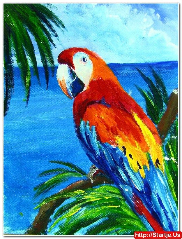 Acrylic Paintings Of Parrots Simple Acrylic Paintings Watercolor Paintings For Beginners Bird Painting Acrylic
