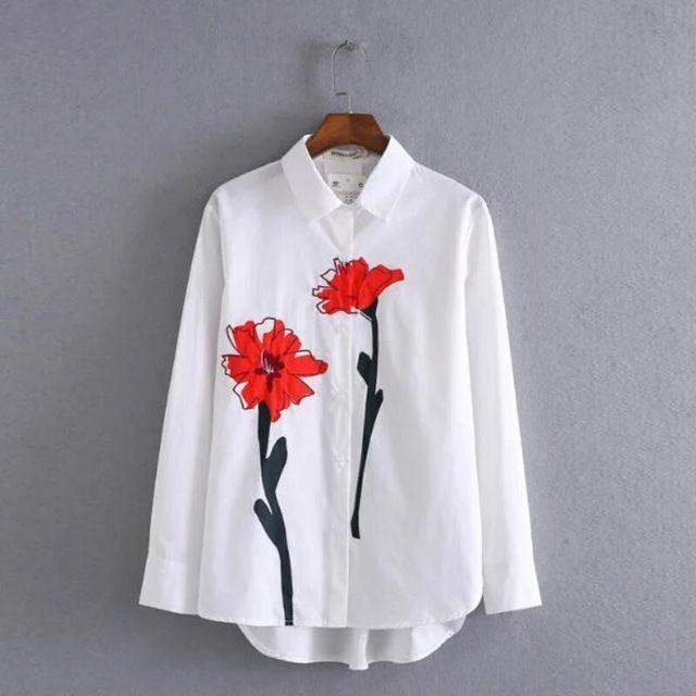 2017 Мода Женщины Ромашки печати Рубашки С Длинным рукавом Блузка Случайные Свободные Топы Blusa Feminina Плюс Размер S1027