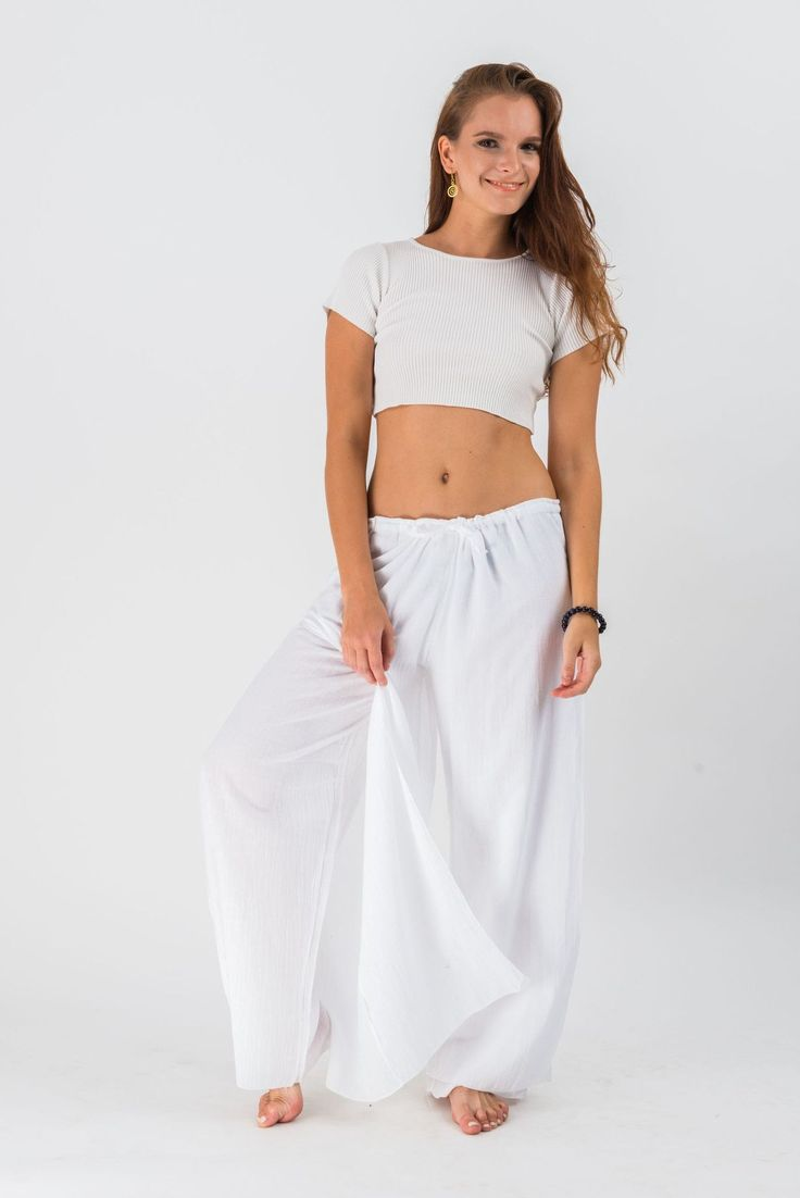 Women's Thai Harem Double Layers Palazzo Pants in Solid White – Harem Pants