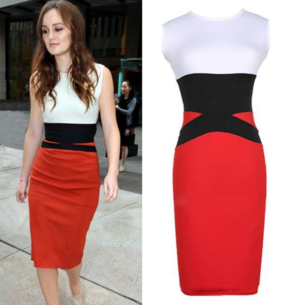 New 2014 women orange patchwork bodycon bandage dress,brand designer round neck vintage party dresses S-XL Free shipping $26.25