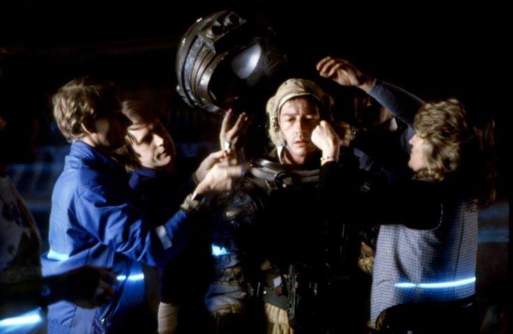 John Hurt as Kane behind the scenes on #Alien (1979).