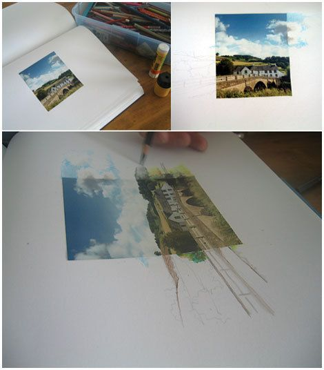 extended landscape photo and drawing assignment. Take your own image and extended it using different mediums on each side.   There are a lot of possibilities - adding backgrounds to portraits, interior design, etc.  This is an interesting blog, too.  Click the link.
