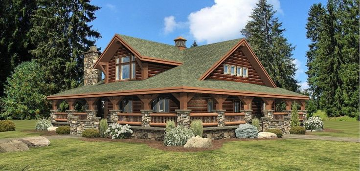 Deerfield log homes cabins and log home floor plans for Log cabin house plans with wrap around porches