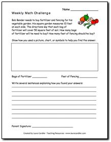 Free Weekly Math Challenge Word Problems from Laura Candler's online file cabinet