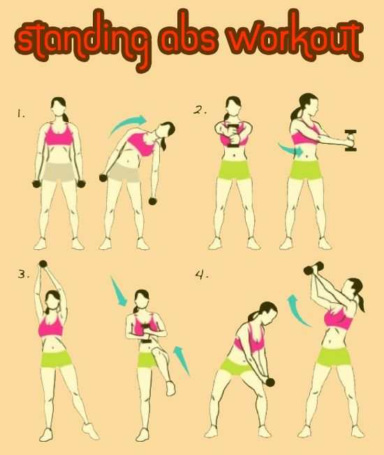 Standing Abs Workout. This is nice because once I start mat exercises is when the dogs and the cat decide they need attention.