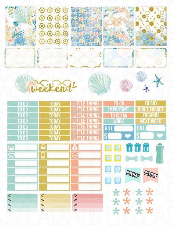 Printable Planner Stickers Sea Beach Summer Ocean by LaceAndLogos