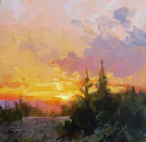 Sunset Poetry 6 x6 oil, painting by artist Becky Joy