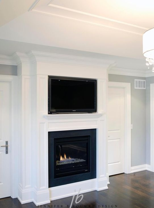 Marvelous SallyL: Bedroom With Flatscreen TV Over Gas Fireplace. Elegant White Wood  Paneled Fireplace With .