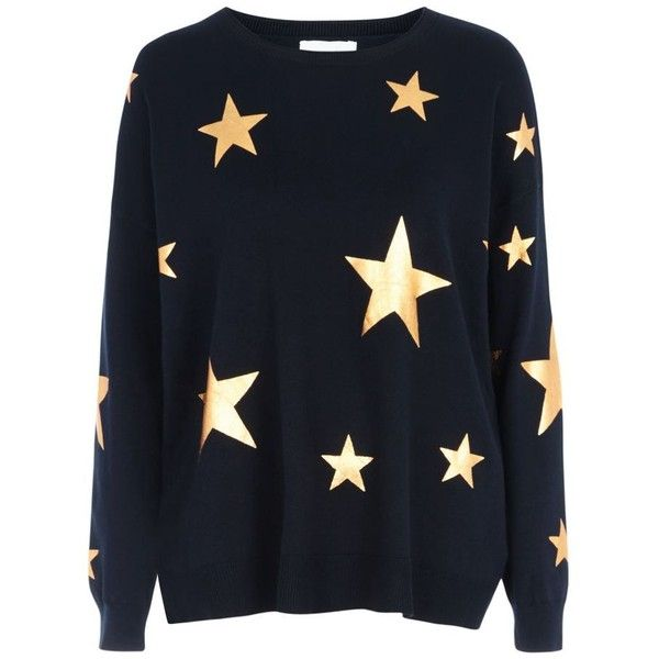 Red Herring Navy metallic star print jumper ($49) ❤ liked on Polyvore featuring tops, sweaters, navy blue crew neck sweater, metallic top, navy top, navy star sweater and long sleeve crew neck sweater