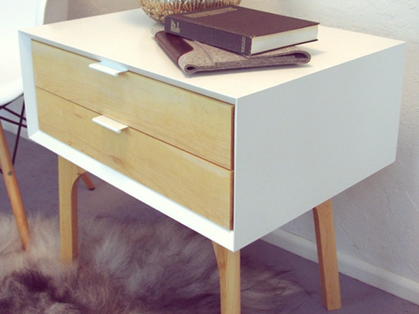 Side Table and Drawers White Lacquer and Maple by wfourdesign bedroom side tables