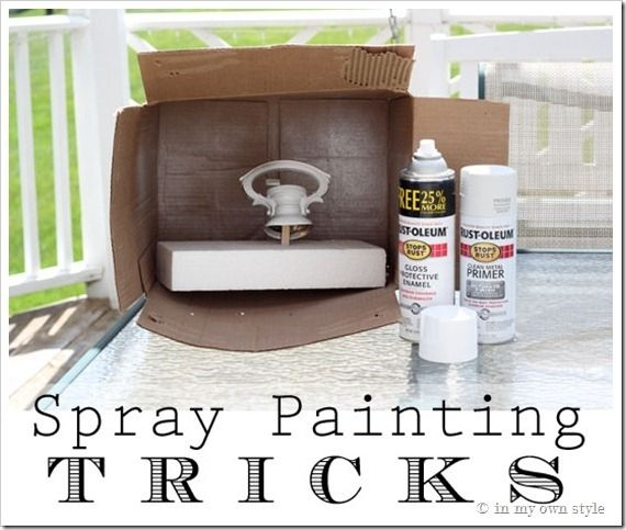 Para limitar a bagunça, pulverizar pintar um item dentro de uma caixa de papelão.