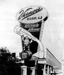 Vernor's Ginger Ale: Before the Civil War began, James Vernor, a Detroit pharmacist, concocted a drink made from19 different ingredients. For years, the only place one could buy Vernors was from the fountain in James Vernor's pharmacy at 233 Woodward Ave. in downtown Detroit. However, demand for the drink continued to grow and soda fountains throughout the city began to sell cold, carbonated Vernors.