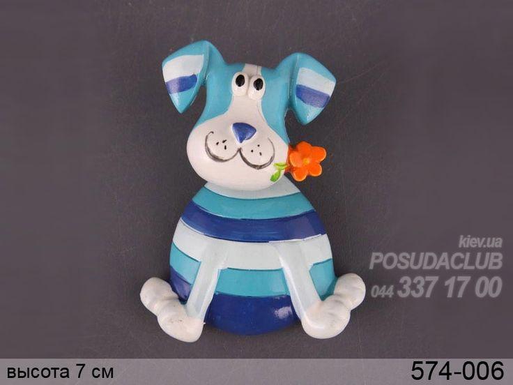 Магнит на холодильник голубая собака 574-006