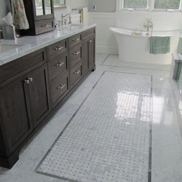 Carrara Marble Mosaic Wall With Dark Cabinets Bathroom Tile Find Flooring Backsplash And