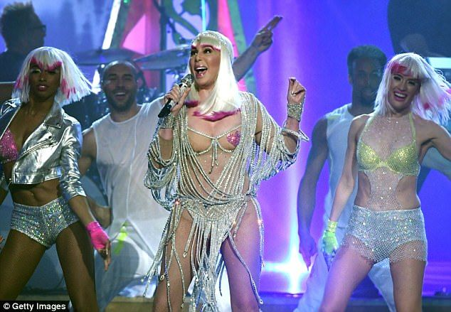On top: Cher performed Believe at the 2017 Billboard Music Awards in Las Vegas on Sunday as she picked up an Icon Award