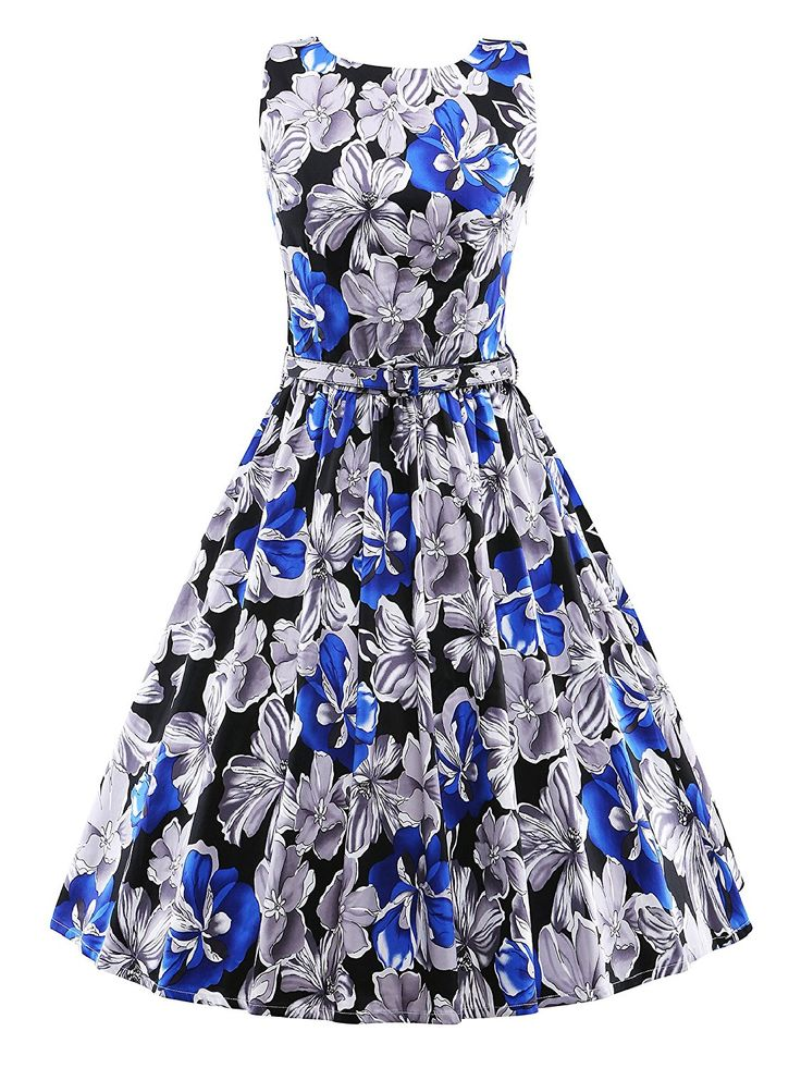 iLover Women Classy Vintage 1950's Floral Spring Hepburn Style Garden Party Dress * Learn more by visiting the image link. (This is an affiliate link and I receive a commission for the sales)