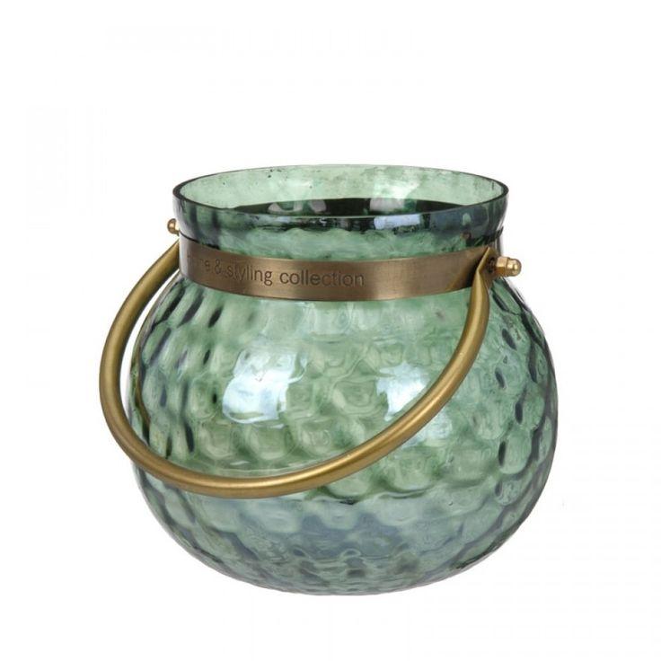 Φανάρι γυάλινο πράσινο με μπρούτζινο χερούλι Διάμετρος 18 Χ Ύψος 16,5 cm