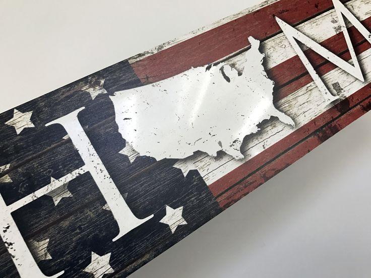 Metal USA Flag Home Sign