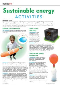 Science sustaibable energy activities