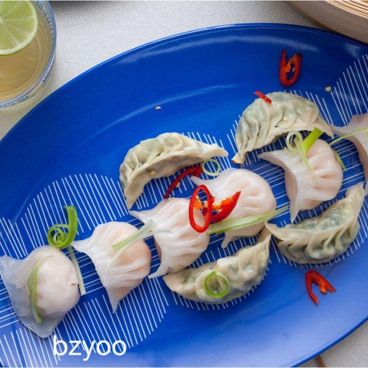 Yum Cha on blue platter #blue #bzyoo #food #decor #homedecor #style #design