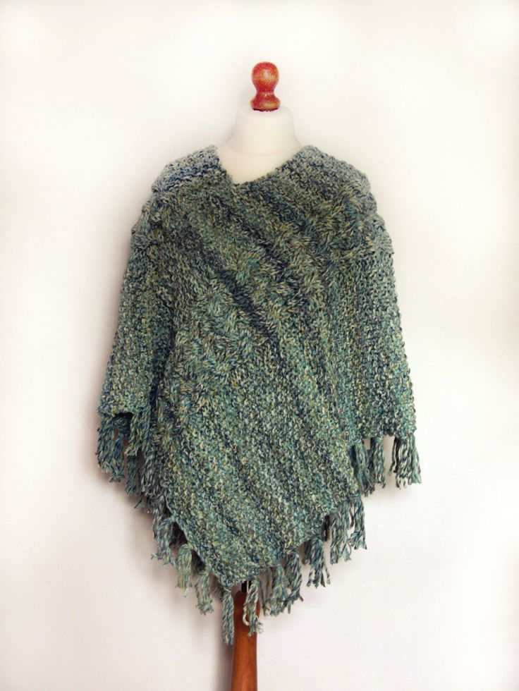 Ladies Hand Knitted Chunky Poncho, Wrap, Cape, Shawl With Fringe and Wide Cable Detail Blue, Green, White, Turquoise, Teal - pinned by pin4etsy.com