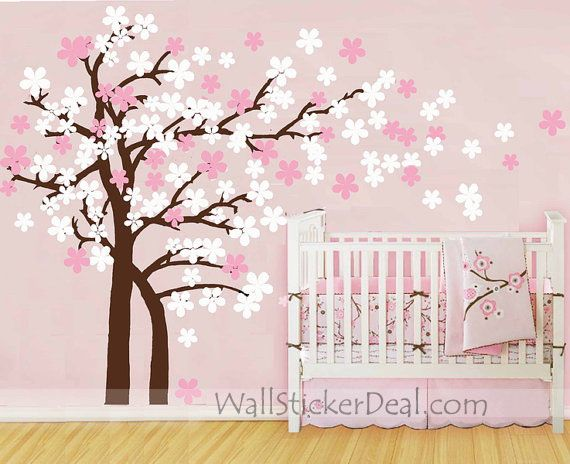 """Size : 72""""H x 124""""W (183cm x 315cm) Category : Kids Wall Sticker / Tree Wall Sticker  Material : Vinyl Wall Sticker Room :Kids room, bedroom, living room Color:Coffee brown tree trunk ,soft pink and white flowers Includes:Cherry blossom tree"""