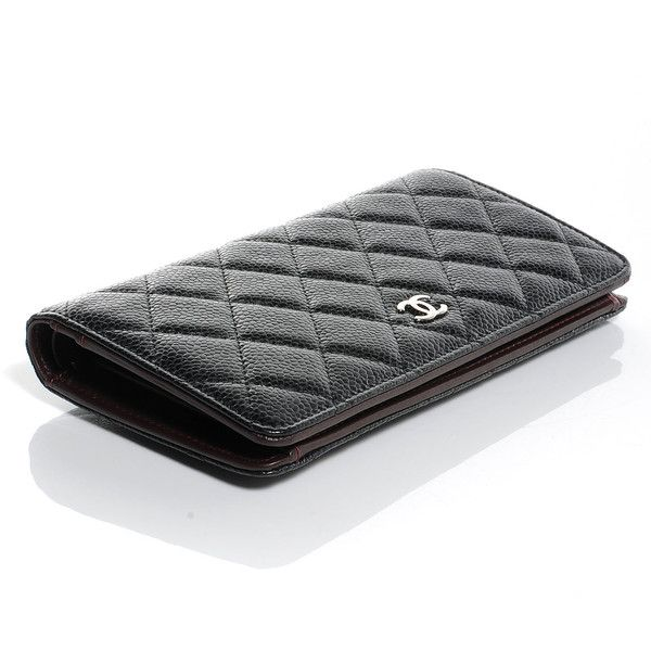 CHANEL Caviar Quilted Yen Wallet Black ❤ liked on Polyvore featuring bags, wallets, clutch wallet, bill fold wallet, chanel wallet, chanel bags and billfold wallet
