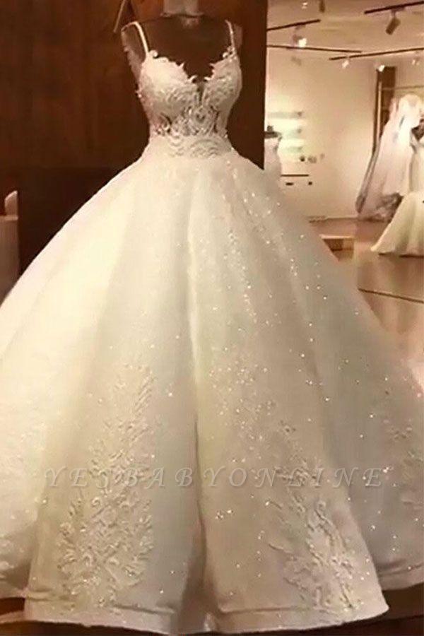 Stunning Ball Gown Wedding Dresses Spaghetti Straps Lace Bridal Gown Ball Gowns Wedding Ball Gown Wedding Dress Cheap Wedding Dress