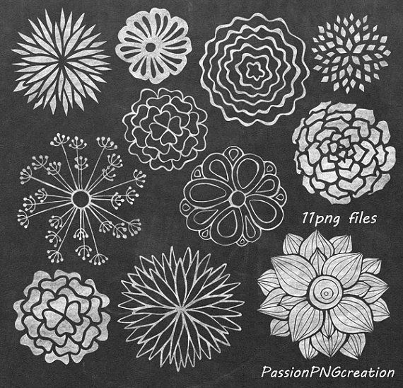 BIG SET! Chalkboard Flowers clipart, Hand Drawn Flowers, PNG, Flowers…