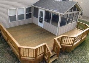 Deck and screened in back porch. I would love to screen in the porch and add a deck!
