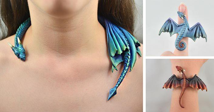 Náhrdelníky, náramky, brošne, sponky do vlasov, prívesky, prstene! Aelia Petro vyrába handmade šperky s motívom drakov z polymérovej hmoty FIMO. Umenie