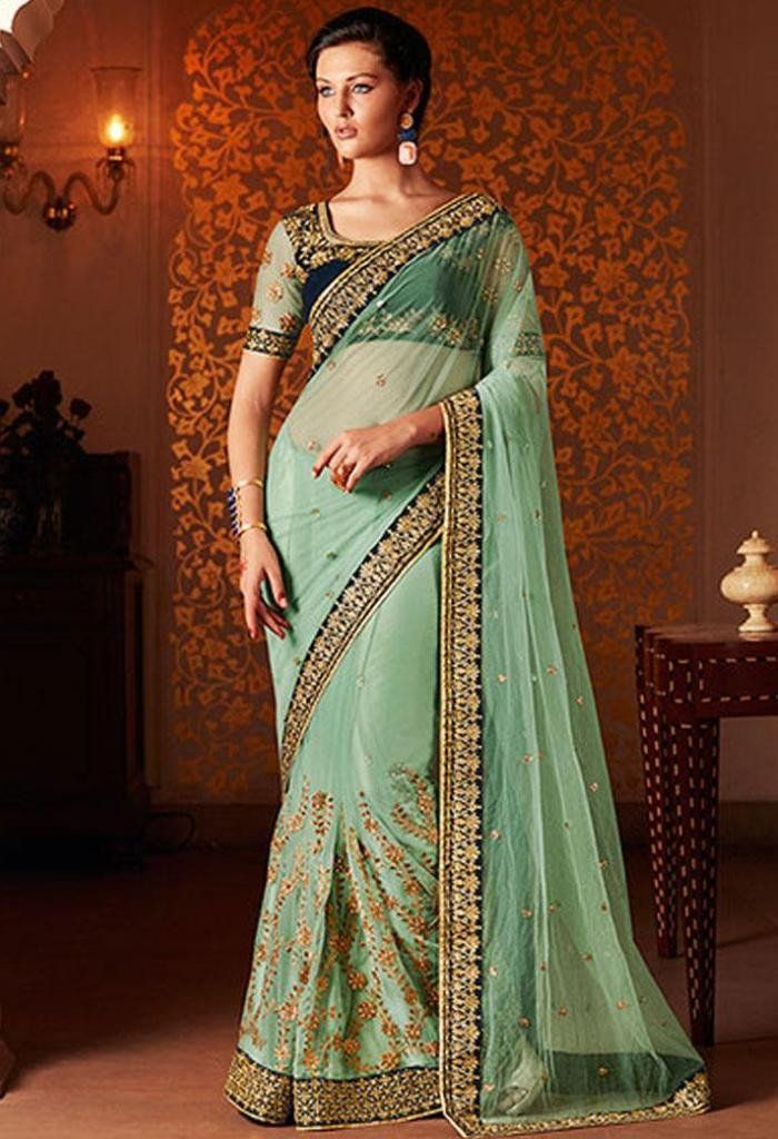 Green Designer Saree Made with Net and Velvet..@ fashionsbyindia.com #designs #indian #fashion #womens #style #cloths #clothes #stylish #casual #fashionsbyindia #punjabi #suits #wedding #saree #chic #elegance #beauty #outfits #fantasy #embroidered #dress #PakistaniFashion #Fashion #Longsuit #FloralEmbroidery #Fashionista #Fashion2015 #IndianWear #WeddingWear #Bridesmaid #BridalWear #PartyWear #Occasion #OnlineShopping #sari