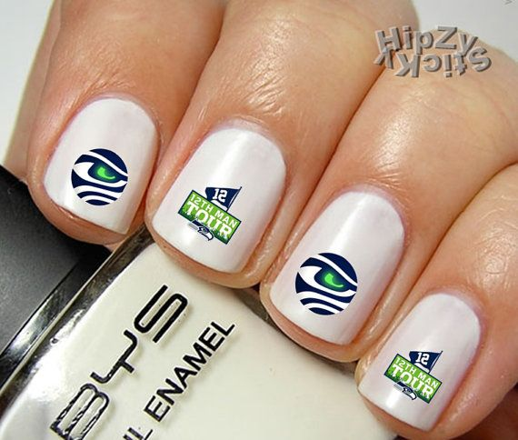 20 seahawks football 12 man quality nail art decals water slide transfer manicure