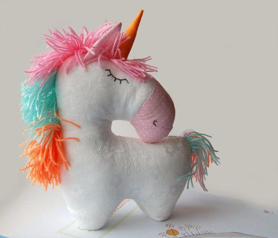 Stuffed unicorn  plush horse  Stuffed Animal   white