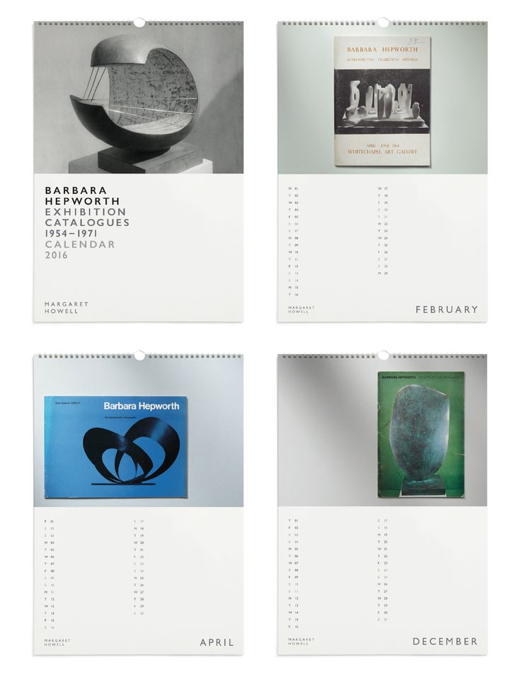 Margaret Howell 2016 Calendar - Barbara Hepworth Exhibition Catalogues 1954 – 1971