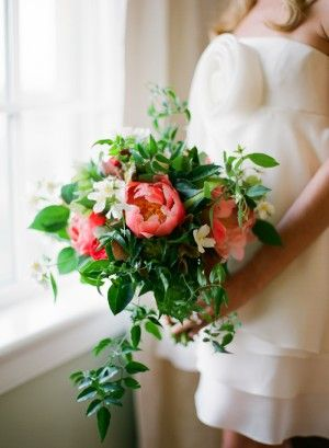 Pink Peony and Greenery Bouquet by http://www.patsfloraldesigns.com/ | styling by http://justalittleditty.com/ | photography by http://www.jenfariello.com/