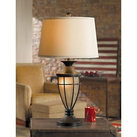 Mission cage night light urn table lamp