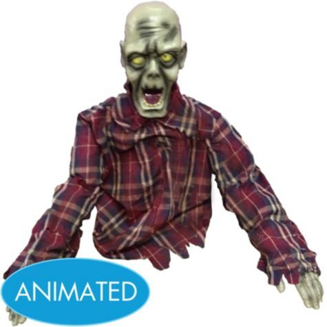 animated zombie 14in party cityanimated zombie 14in fabric plastic zombie sku 535896 - Zombie Decorations